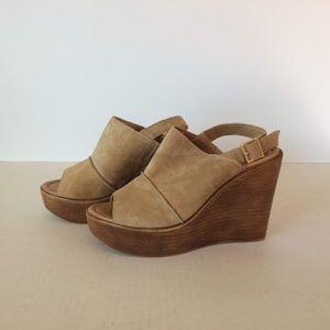 Mila Paoli  Suede Slingback Wedge Shoe